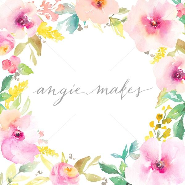 Round Watercolor Flower Frame Background - Angie Makes Stock Shop