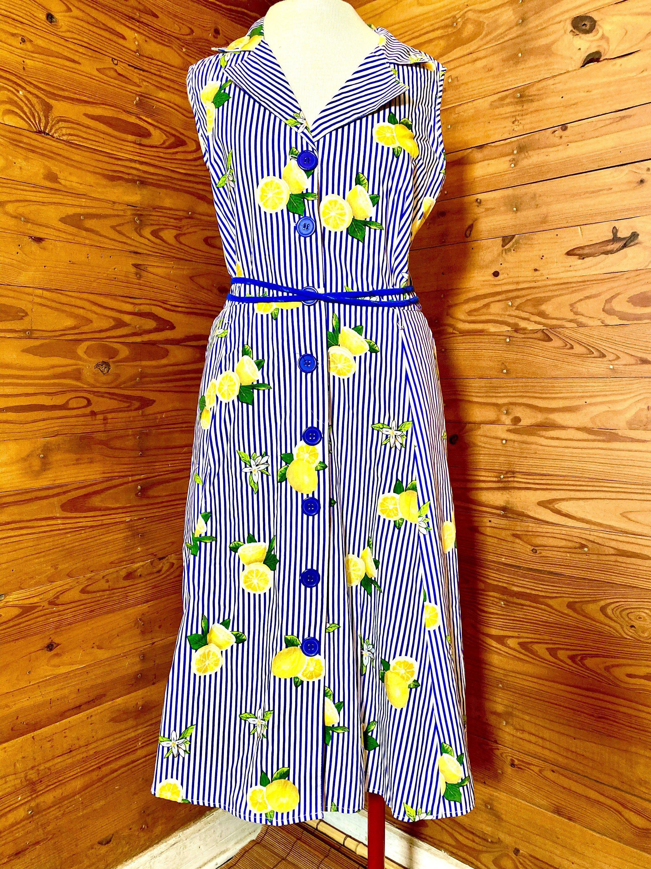 The Lemon Dress Sleeveless Knee Length Blue And White Etsy Vertical Striped Dress White Striped Dress Vintage Inspired Blouses [ 3000 x 2250 Pixel ]