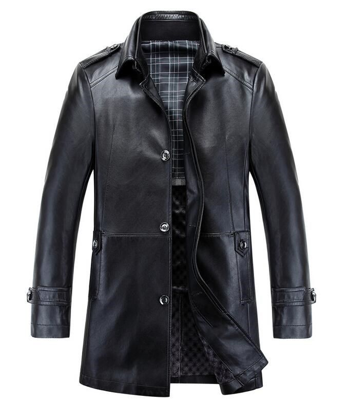 27fa7758c3a2 Coats ·    Click to Buy    Top Quality New Fashion Men Leather Jacket Long  Style.