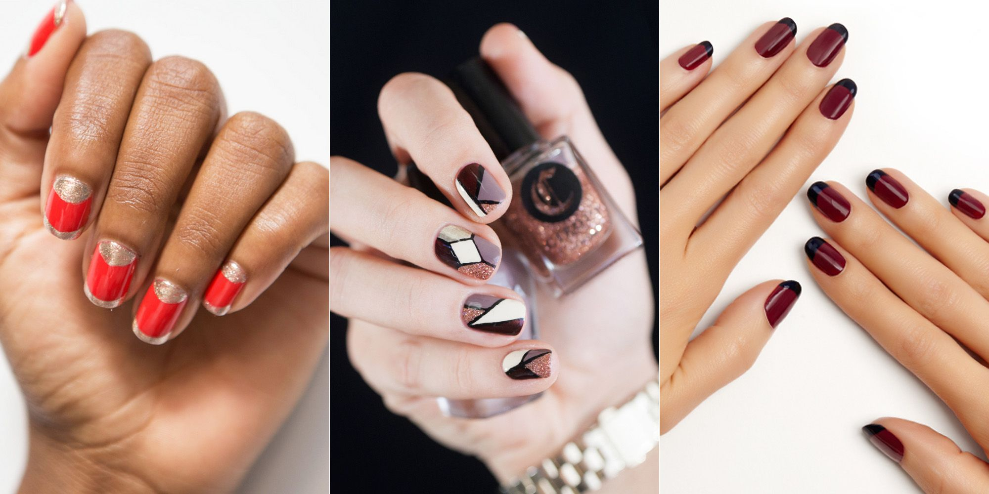 35 Nail Designs That Are So Perfect for Fall | Red gold and Beauty nails