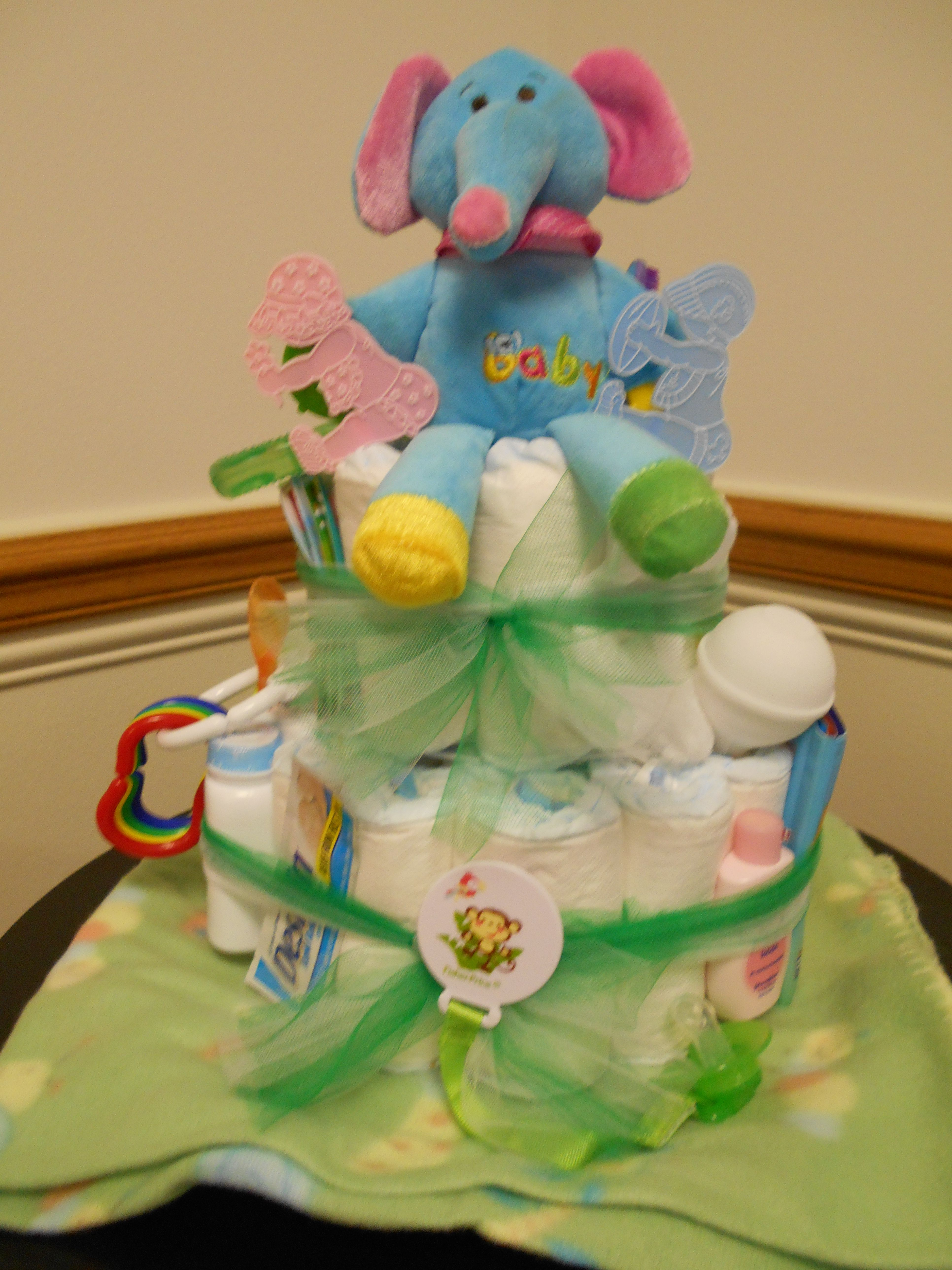 Diaper cake for unknown gender baby Wagoner January 2014
