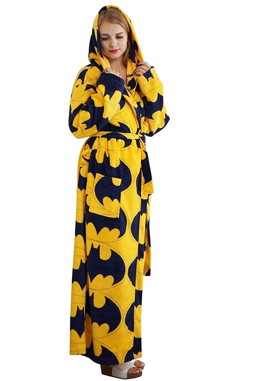 c86de21f4f89 Women s Fleece Nightwear Soft Robe Printed - Yellow - C3187I342MX ...