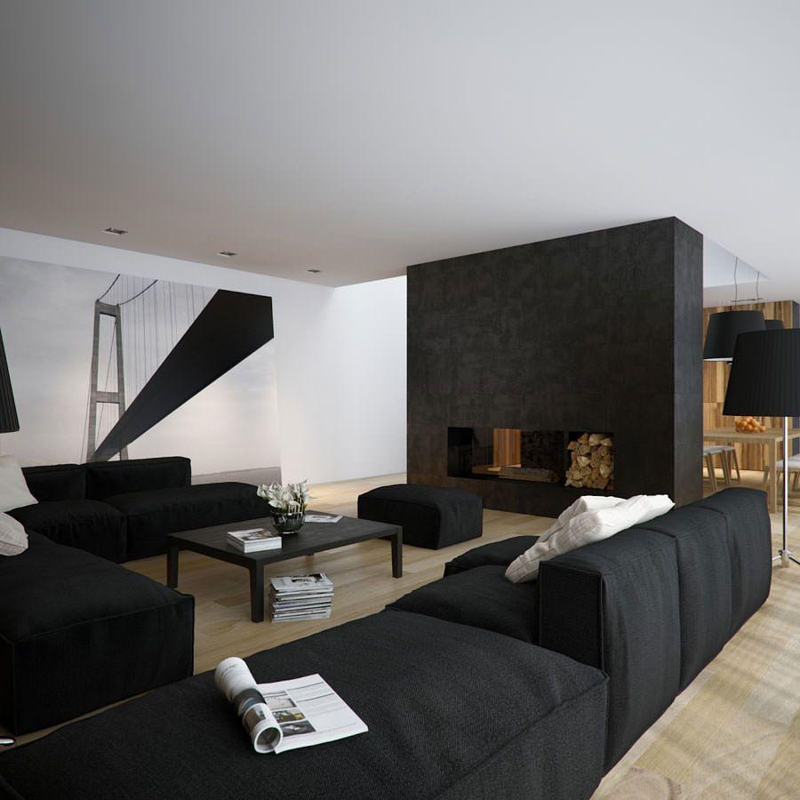 Idee per arredare il soggiorno in bianco e nero n.16 | Arredare ...