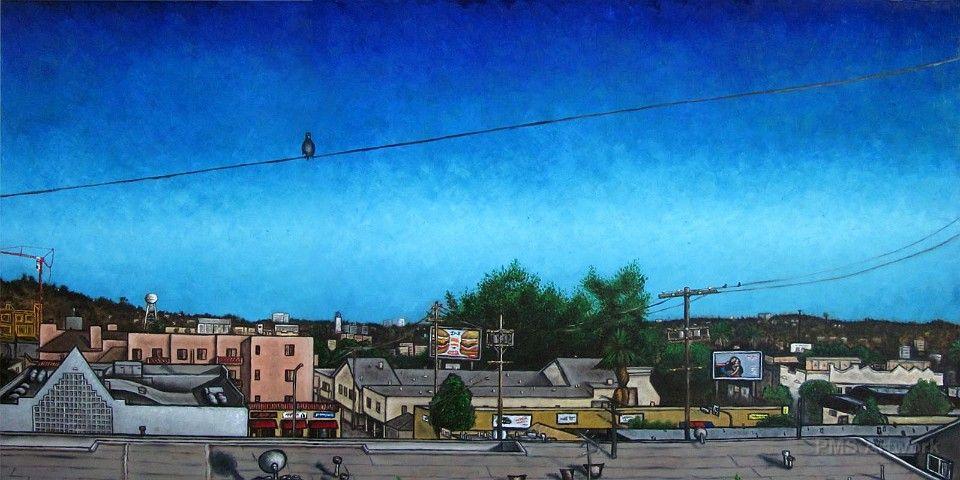 """Birds Outside My Window  48"""" x 24"""" - Oil on wood - framed"""