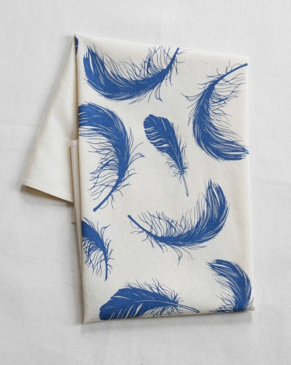 Tea Towel - Organic Cotton - Feathers - Eco Friendly Kitchen