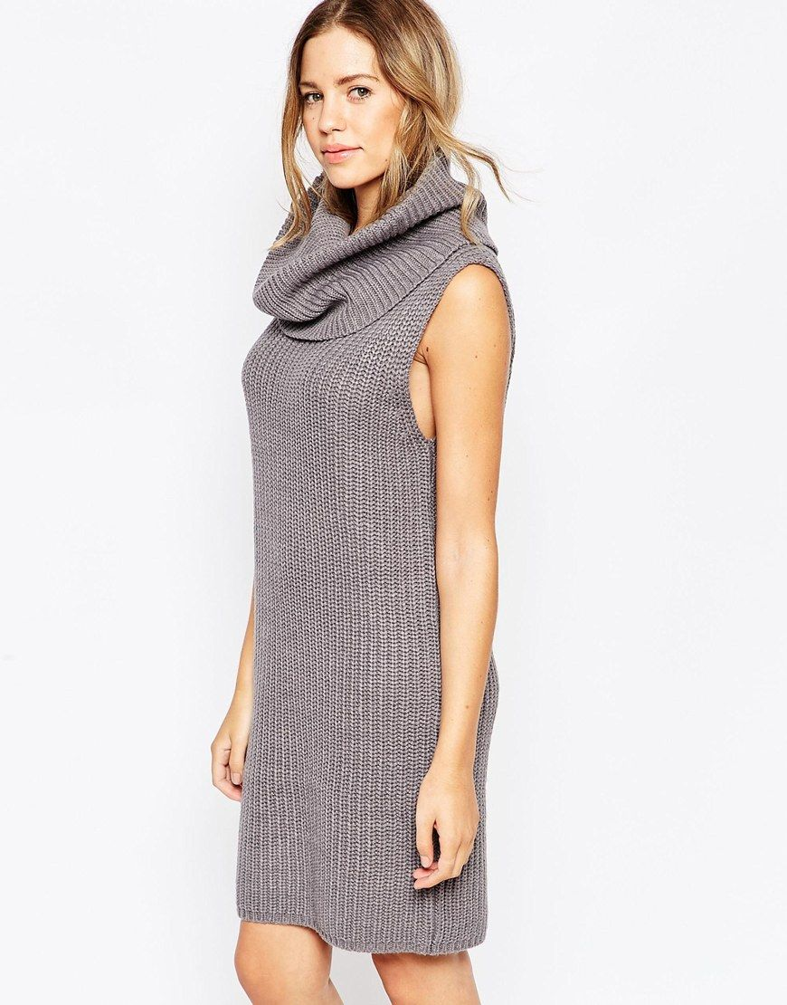 Brave Soul Chunky Knit Sleeveless Cowl Neck Jumper Dress | Outfits ...