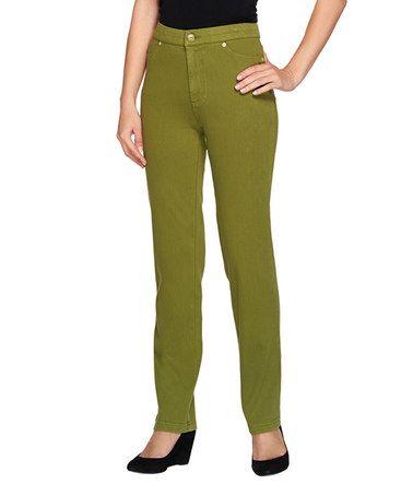 Look at this #zulilyfind! Green Olive High-Waist Straight-Leg Jeans - Plus Too #zulilyfinds