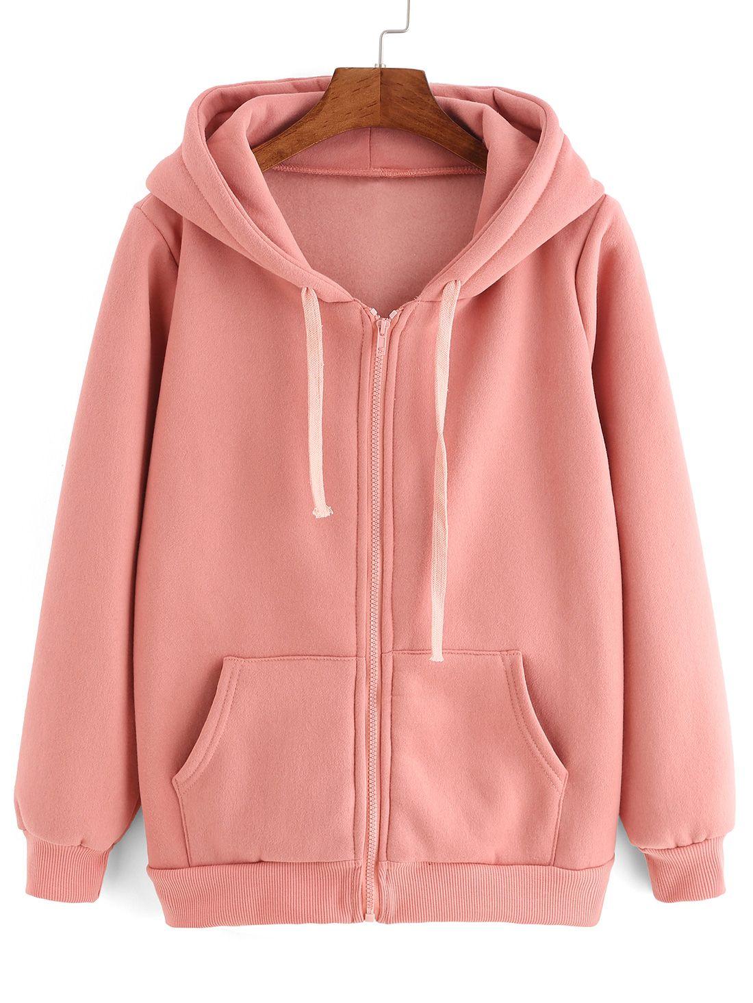 Pink hooded long sleeve pockets sweatshirt fashion style