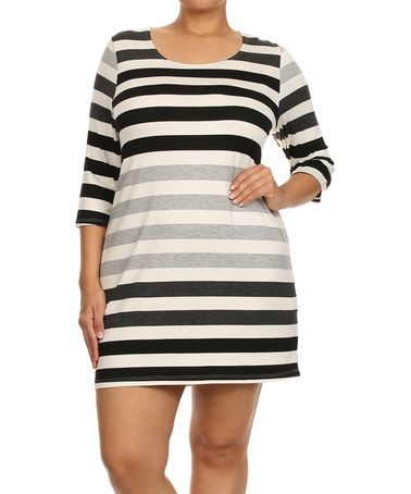 Love this Black & Charcoal Stripe Shift Dress - Plus by Chris & Carol on #zulily! #zulilyfinds