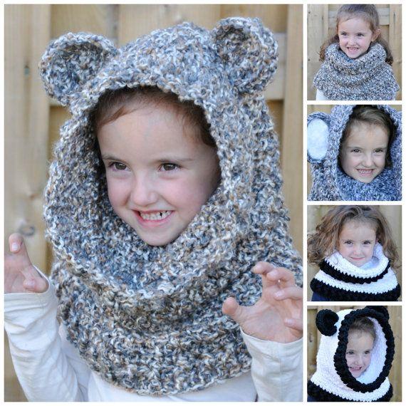 Un\'bear\'ably Cute Hooded Cowl Crochet Pattern pdf (Scoodie) | Gorros ...