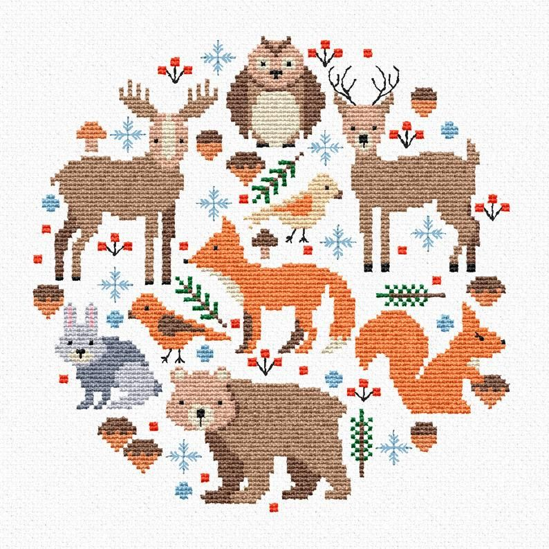 Photo of Forest sampler for cross stitch pattern – Fox Deer Bear Owl Forest animals – Baby shower room decor pdf