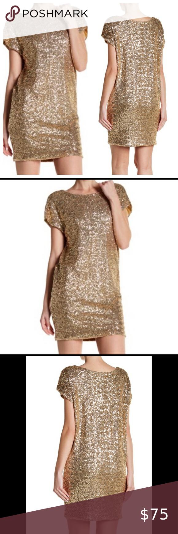 Vertigo Sequin Shift Dress Gold Small Dresses Fashion Clothes Design [ 1740 x 580 Pixel ]