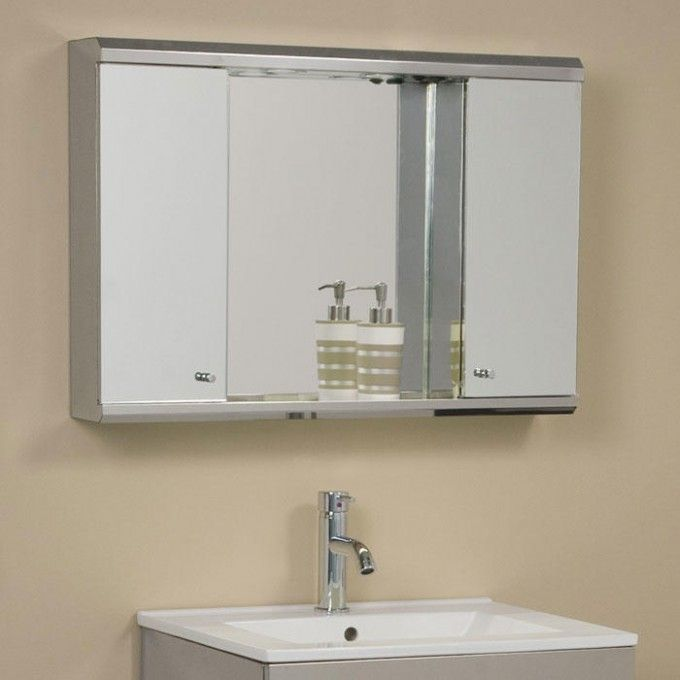 Illumine Dual Stainless Steel Medicine Cabinet With Lighted Mirror Fascinating Steel Bathroom Cabinet Ideas