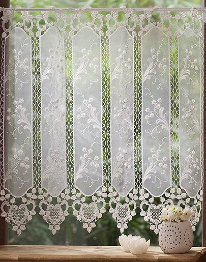 Lace valence curtain in 24 inc height crochet - Confeccion cortinas valencia ...