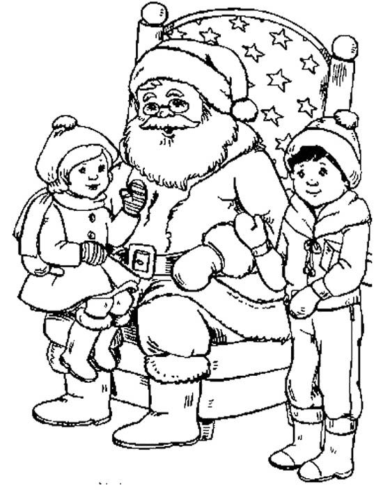 Two Children And Santa Coloring Page card's 3