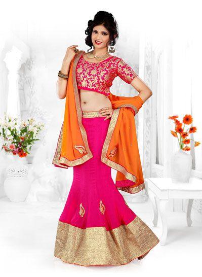 Pink Chiffon Party Wear Lehenga Choli 33744