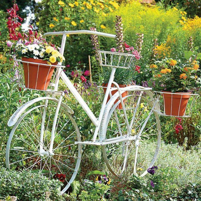 garten verschönern dekoideen garten fahrrad blumen garten - gartengestaltung mit steinen und blumen