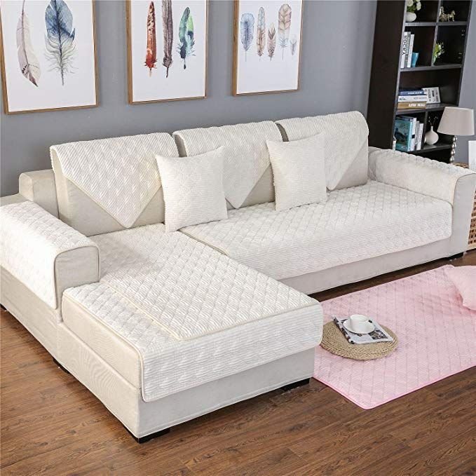 Ostepdecor Multi Size Sectional Winter Corduroy Quilted Couch Slipcover Furniture Protector For Pets And Sofa Sala De Estar Capa De Sofa Decoracao Sala Simples