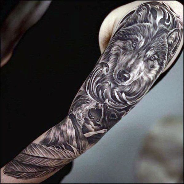 60 Sick Wolf Tattoo Designs For Men: 60 Awesome Sleeve Tattoos For Men