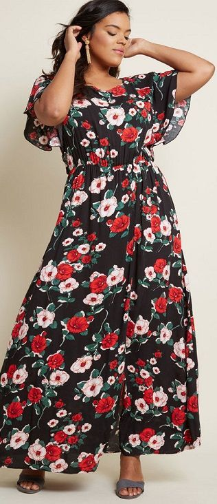 Inspired Spirit Floral Maxi Dress Plus Sizes Floral Print Plus Size