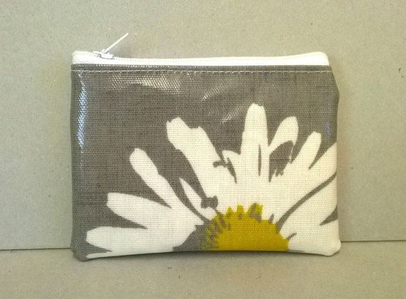 SOLD Coin purse in grey with large daisy pattern by KernowClaire