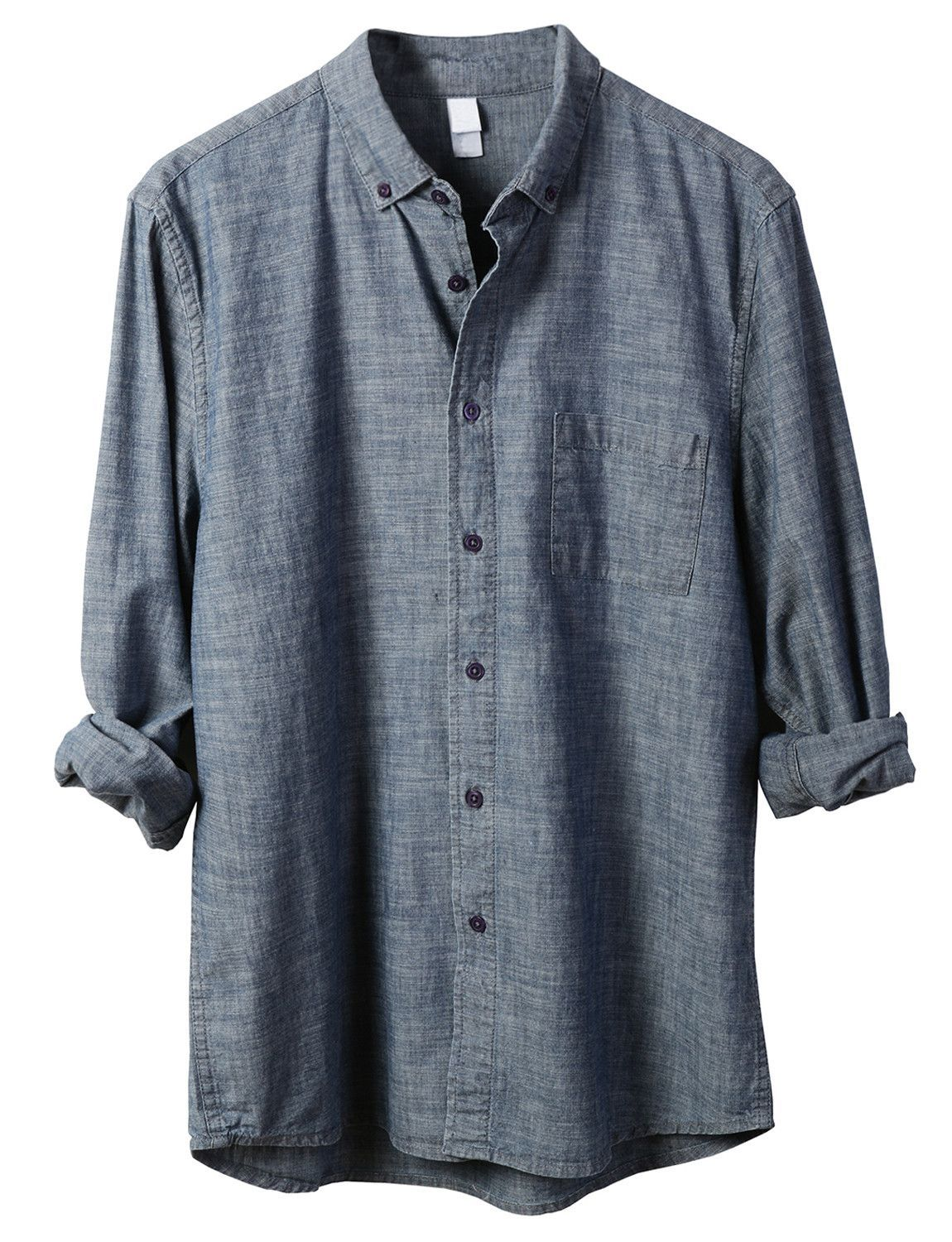 LE3NO PREMIUM Mens Classic Eco-Friendly Button Down Chambray Industry Shirt