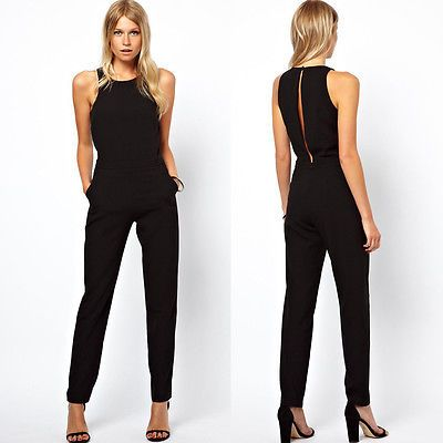 premium selection a3fba c7a8e Women Casual Sleeveless Evening Party Cocktail Jumpsuits ...
