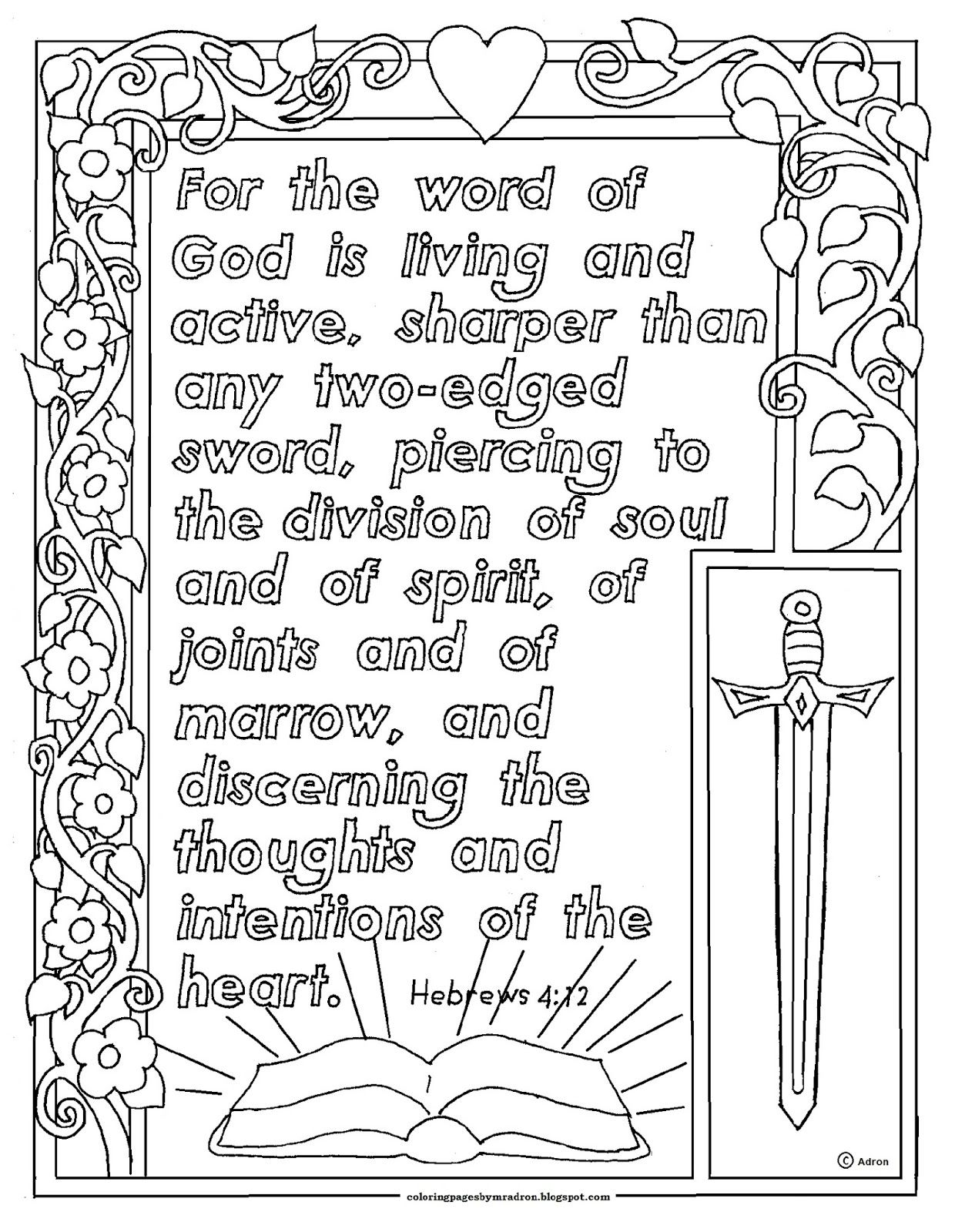 Hebrews 4 12 Jpg 1240 1600 Bible Coloring Pages