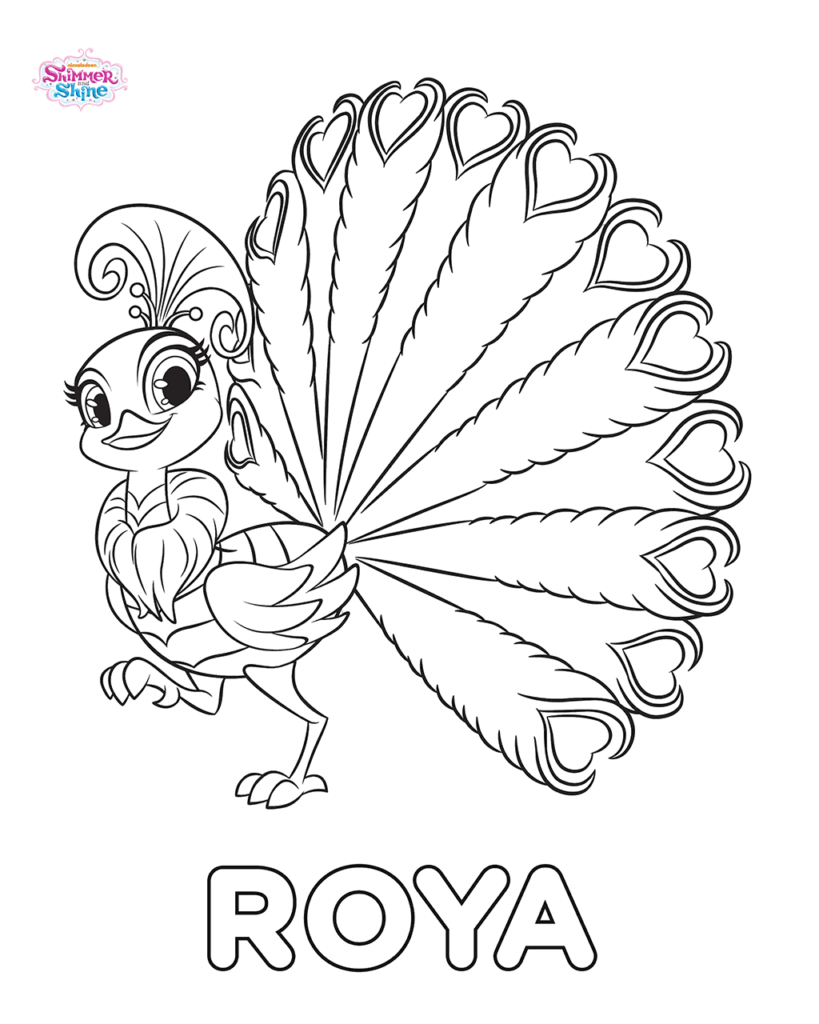 Shimmer And Shine Coloring Pages (With Images) Peacock Coloring