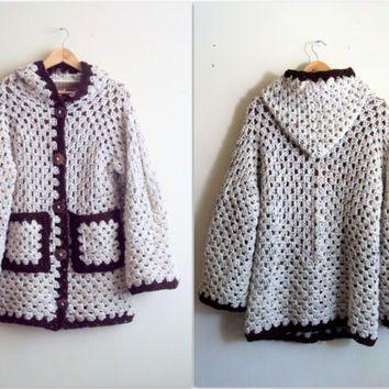 Hooded Cardigan Crochet Cardigan Oatmeal Afghan Jacket Granny ...