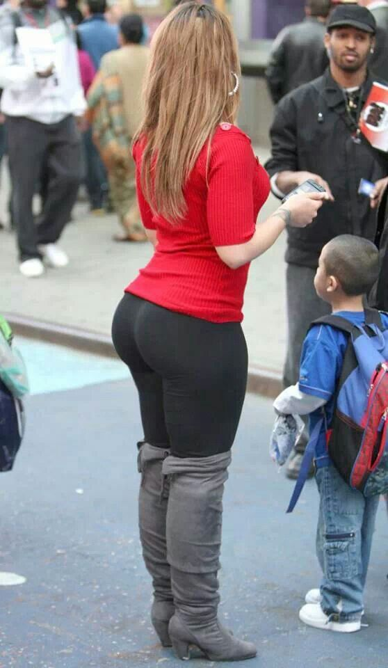 Nice ass milf in black pants