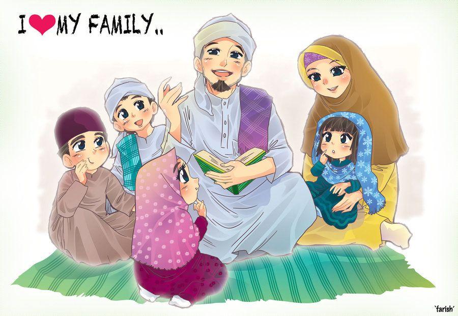 I Love My Family By Saurukent On Deviantart Family Cartoon Anime Muslim Islamic Cartoon