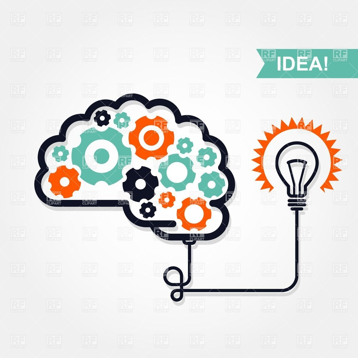 business idea or invention icon brain with gear wheel and light bulb  [ 1200 x 1200 Pixel ]