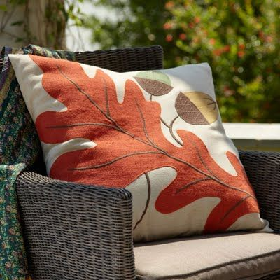 Sew a designer knock-off oak leaf pillow http://517creations.blogspot.com/2011/08/oak-leaf-pillow-wisteria-knock-off.html
