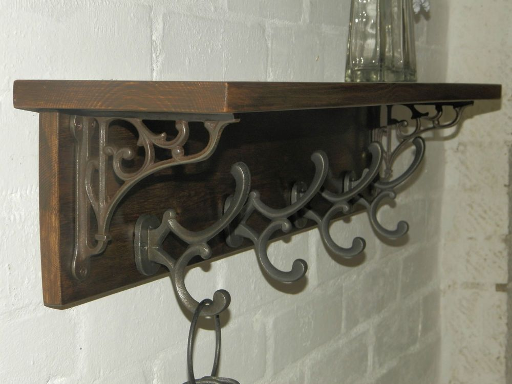 Details About Reclaimed Look Wood Hat Amp Coat Rack With Shelf