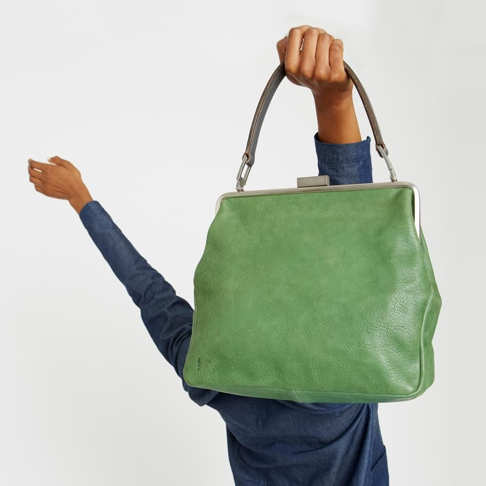 bf9fbbc917 NEW IN SS18: Susan Calvert Leather Frame Bag in Avocado | Ally Capellino