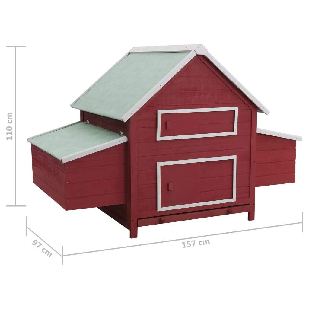 ZNTS Chicken Coop Red 157x97x110 cm Wood 170857