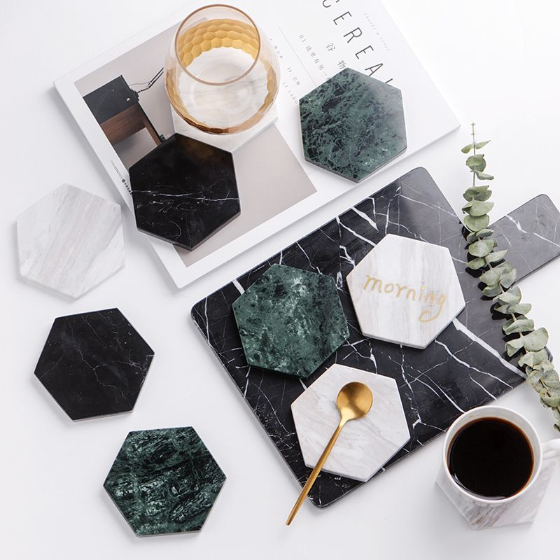 Chic Green Marble Pattern Ceramic Drink Coaster Coffee Cup Mat Tea Pad Dining Hard Table Placemats Table Decor Marble Accessories Green Marble Hexagon Coasters