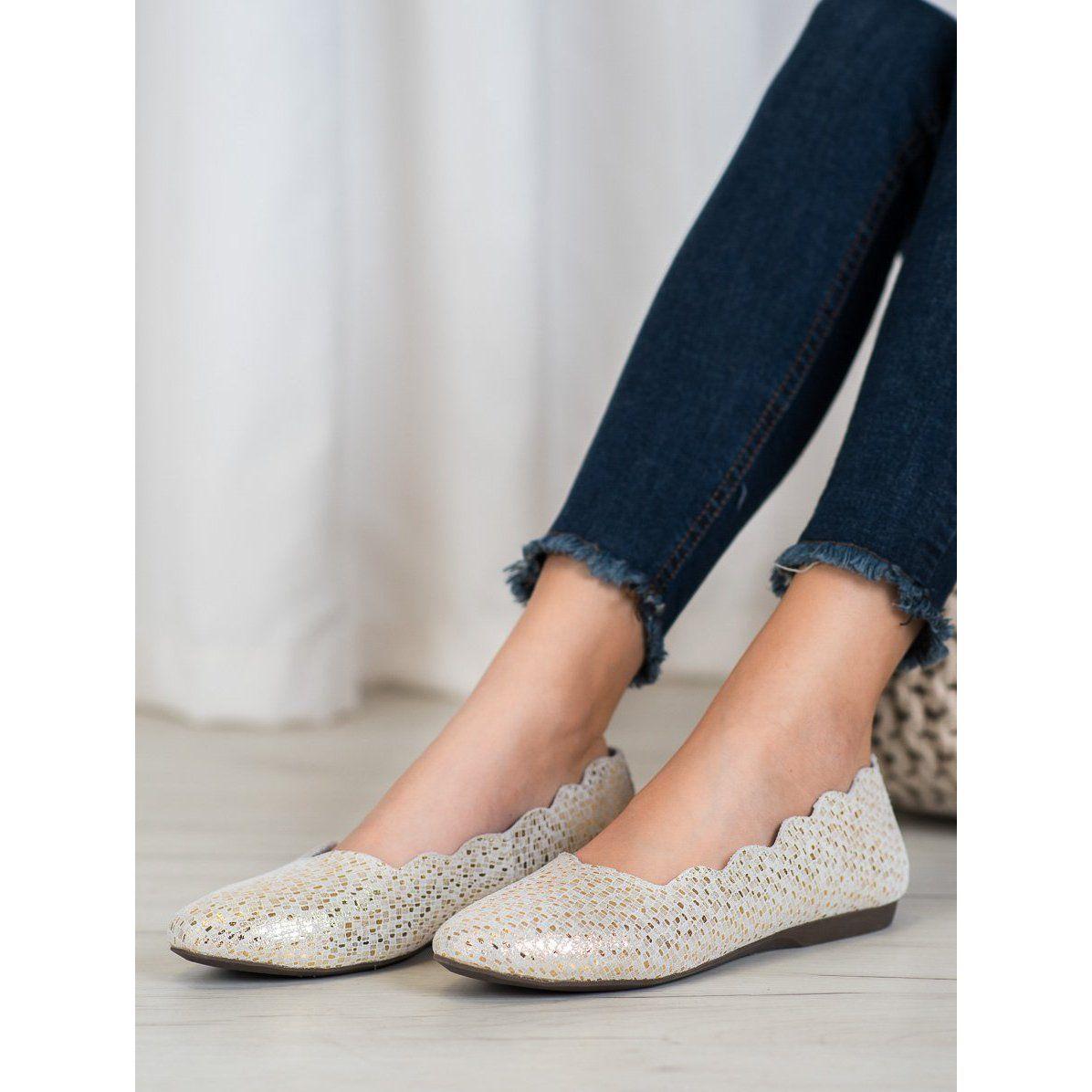 Filippo Modne Skorzane Baleriny Zloty Flat Espadrille Espadrilles Shoes