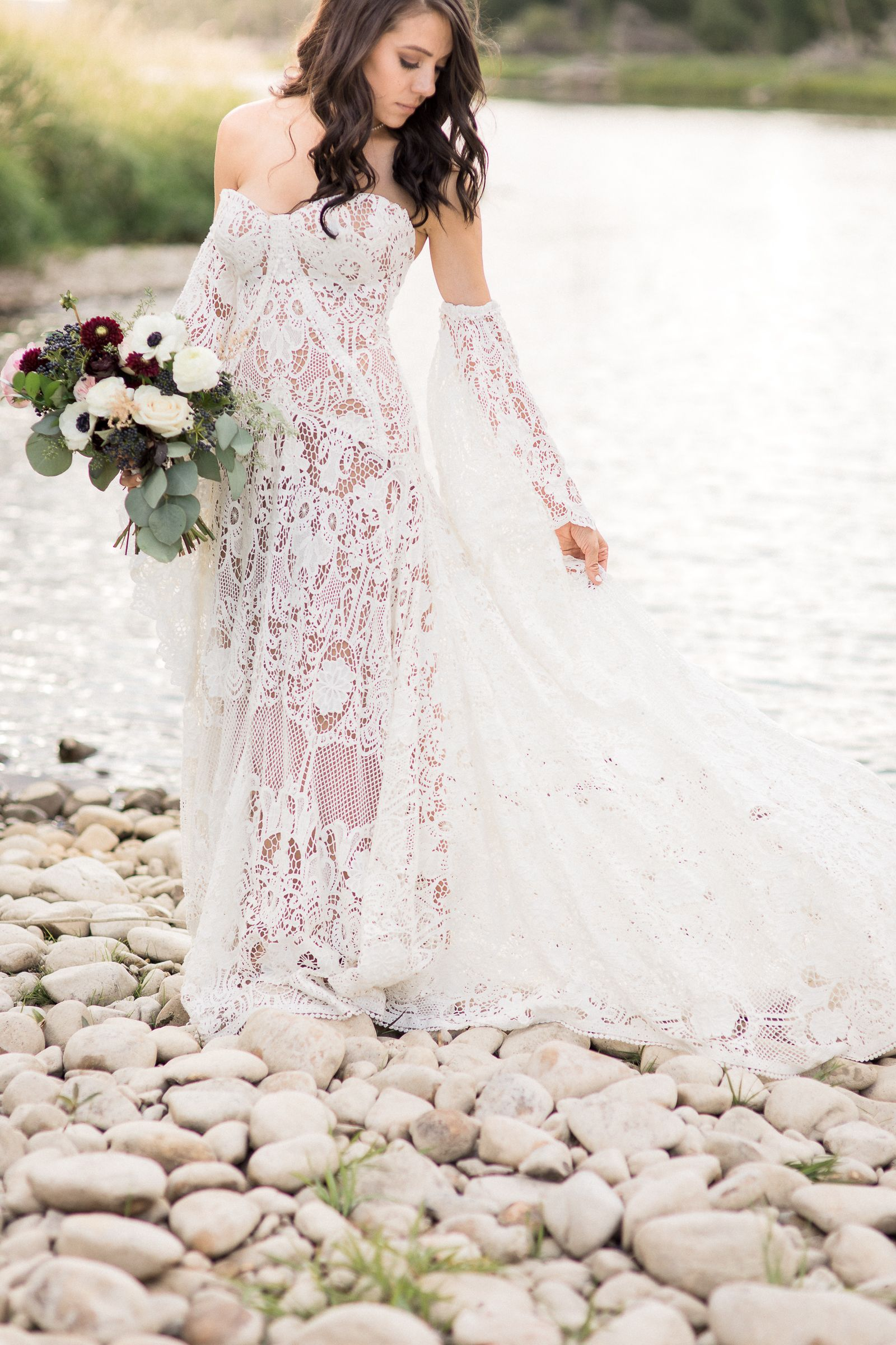 Purple Wedding Dress | Lace wedding dresses, Lace wedding and ...
