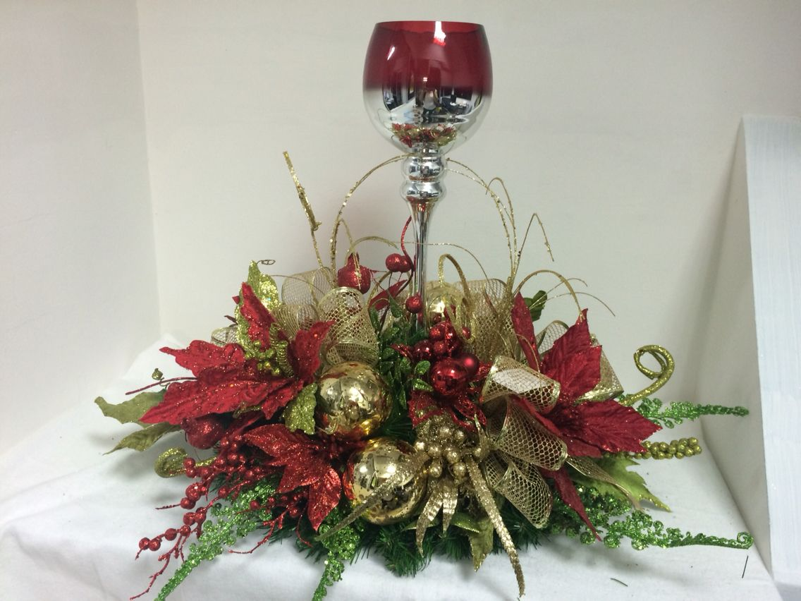 Centro de mesa con copas navidad pinterest copa - Centros florales navidenos ...