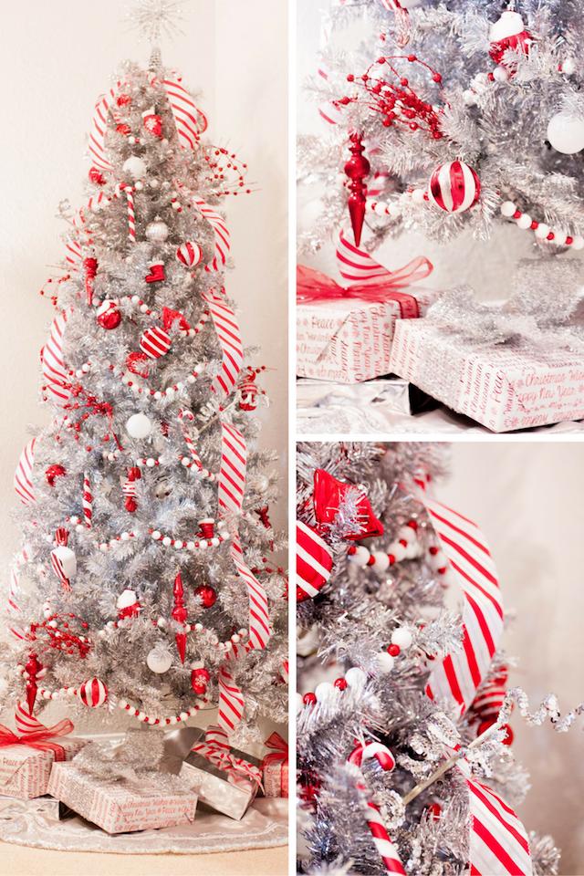 Candy Cane Christmas Tree Tinsel Christmas Tree Silver Christmas Decorations Silver Tinsel Christmas Tree
