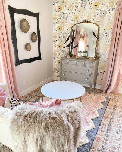 Shop my daughter's room on thespoiledhome.com. #girlsbedroom #teenbedroom #bedroom #wallpaper #pinkbedroom #homedecor