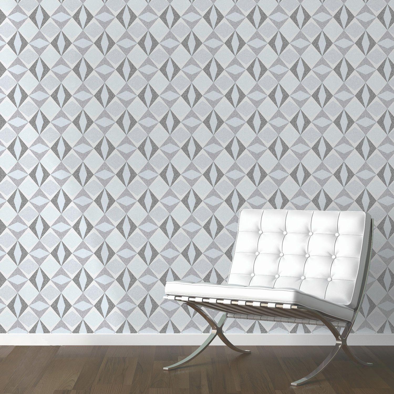 papier peint origami losanges gris leroy merlin - Papier Peint Chambre Adulte Leroy Merlin