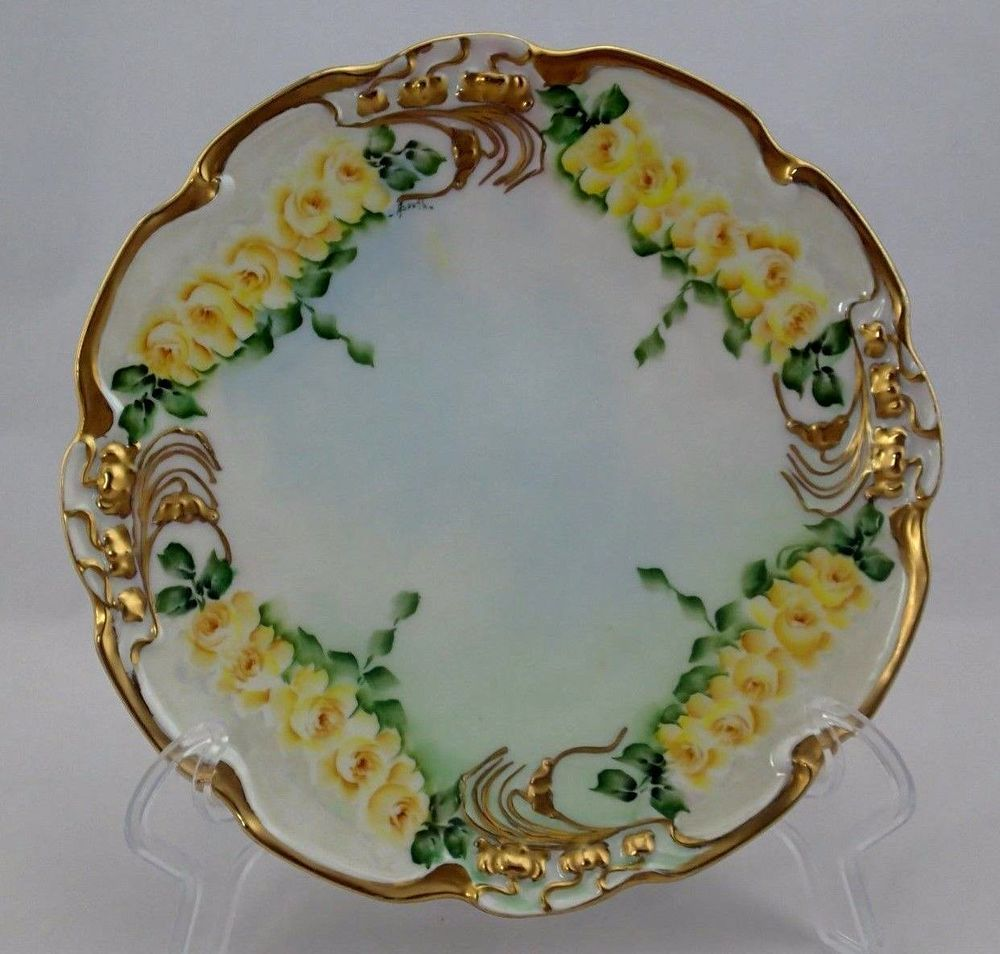 Yellow Decorative Plates Details About Antique Jpl Limoges France Yellow Rosses Signed