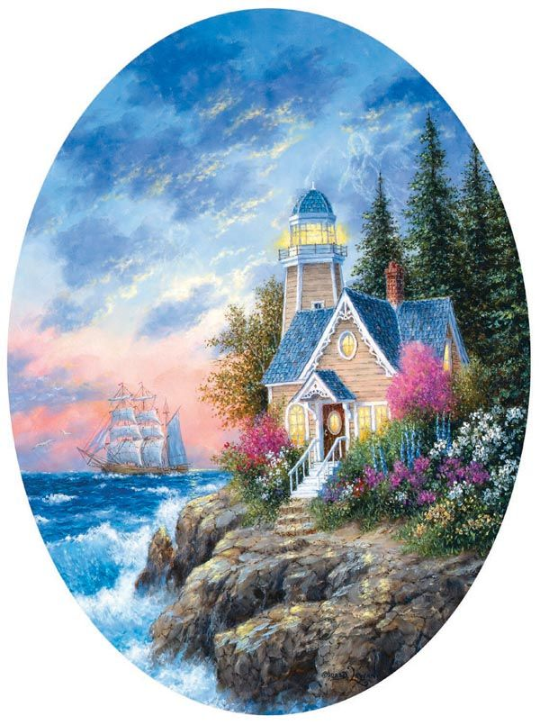"""New Shape! 600 piece oval shaped puzzle. Finished size approx. 20"""" x 27"""". Larger pieces for easy grasp. Artist: Dennis Lewan. Released 2012.Sunsout puzzles are 100% made in the USAEco-friendly soy-based inksRecycled boardsNot sold in mass-market stores"""