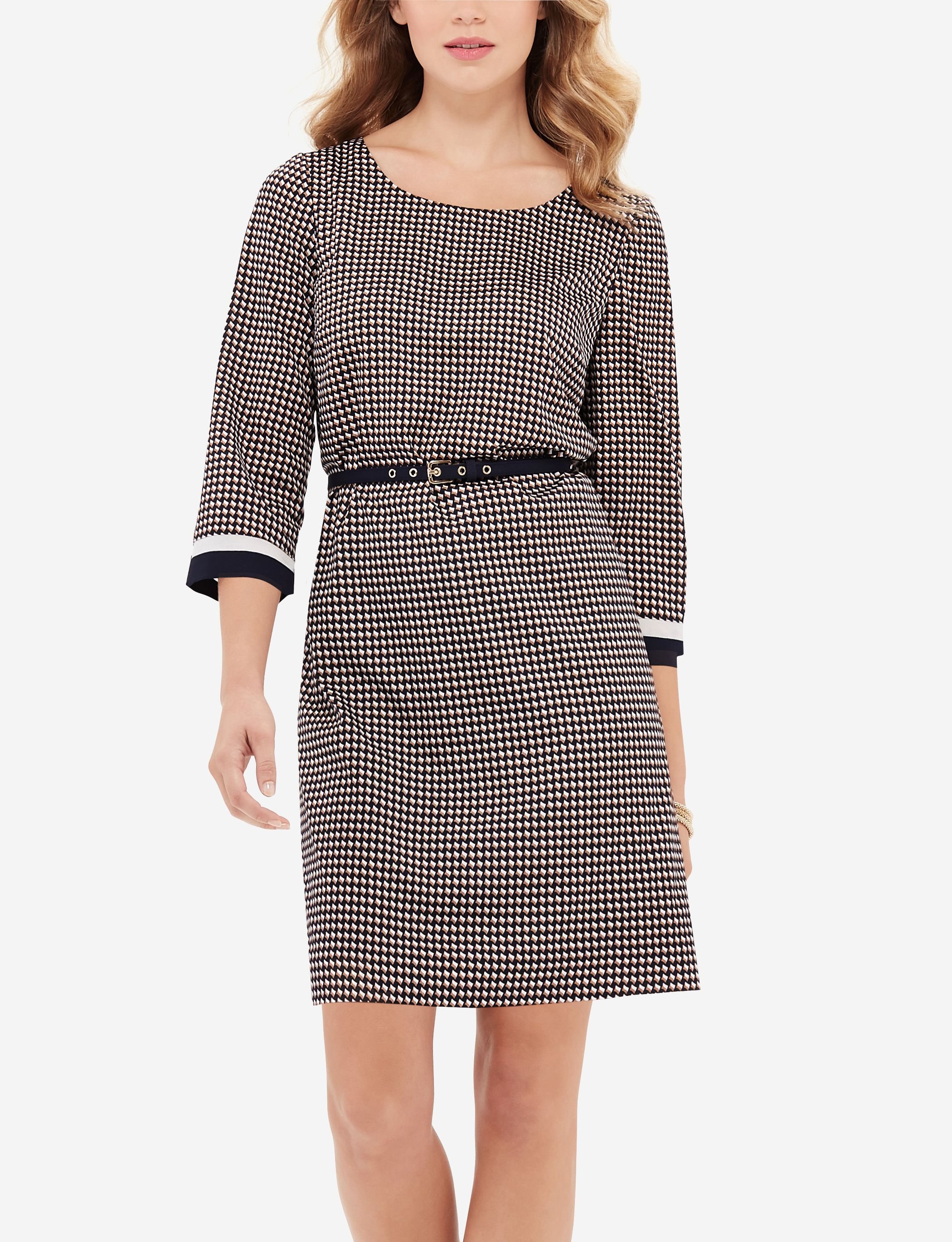 Belted Printed Shift Dress - This lightweight dress works with any body type, in classic colors that stand out thanks to a detailed graphic print.