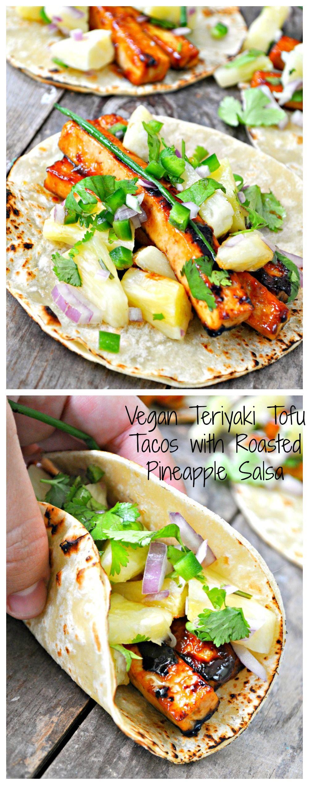Vegan Teriyaki Tofu Tacos with Roasted Pineapple Salsa