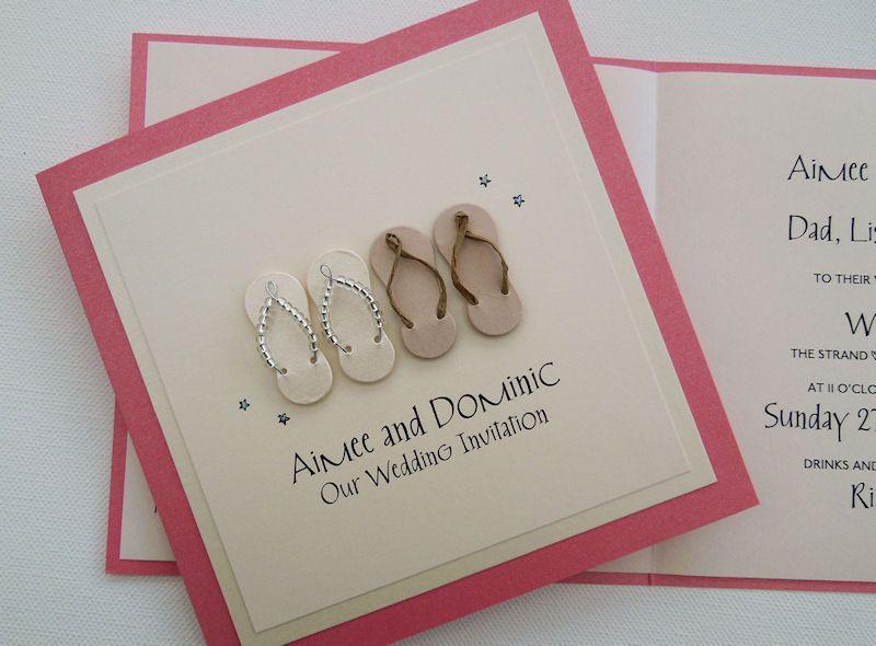 Flip Flops Wedding Invitation in dark coral and cream featuring