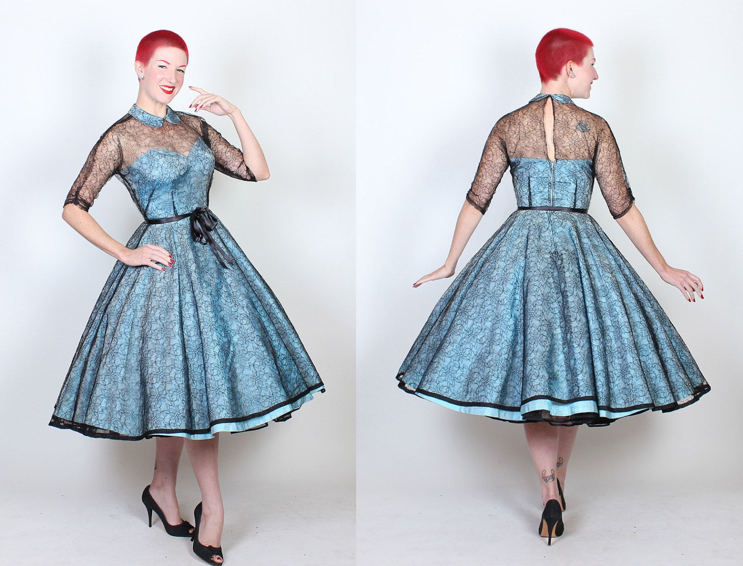 RESERVED 1950\'s New Look Illusion Party Dress w by butchwaxvintage ...